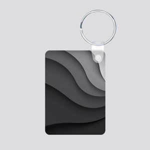 Black Abstract Aluminum Photo Keychain