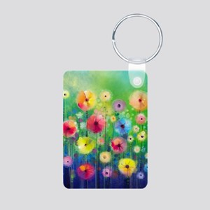 Watercolor Flowers Aluminum Photo Keychain
