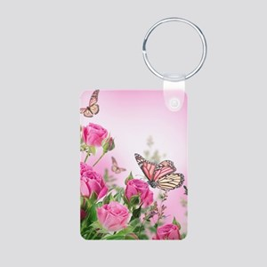 Butterfly Flowers Aluminum Photo Keychain