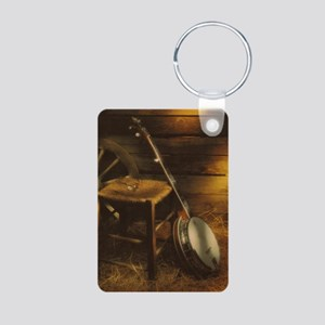 Banjo Picture Larger Aluminum Photo Keychain