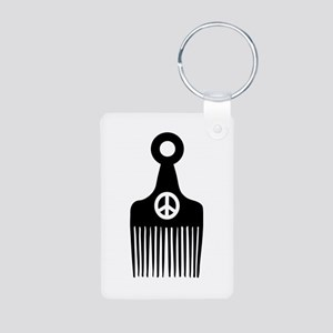 Afro Hair Peace Aluminum Photo Keychain