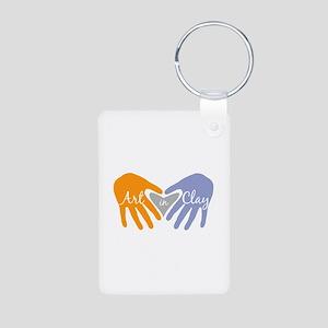 Art in Clay / Heart / Hands Aluminum Photo Keychai