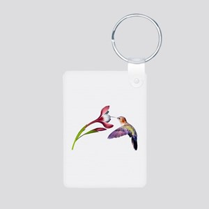 Hummingbird in Flight Aluminum Photo Keychain
