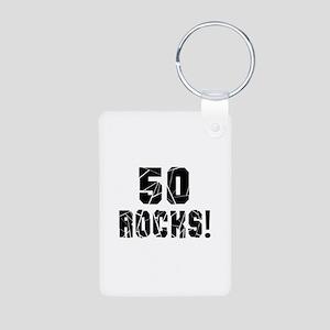 50 Rocks Birthday Designs Aluminum Photo Keychain
