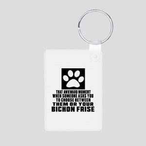 Bichon Frise Awkward Dog D Aluminum Photo Keychain