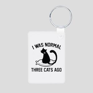 I Was Normal Three Cats Ago Aluminum Photo Keychai