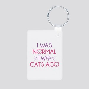 I Was Normal Two Cats Ago Aluminum Photo Keychain
