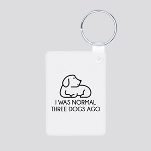 I Was Normal Three Dogs Ago Aluminum Photo Keychai