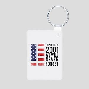 9 11 Remembering Aluminum Photo Keychain