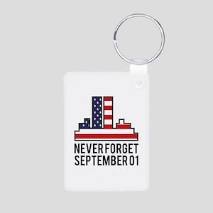 9 11 Never Forget Aluminum Photo Keychain