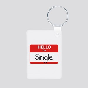 Hello I'm Single Aluminum Photo Keychain