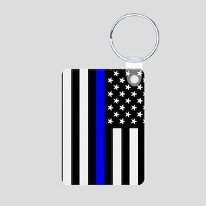 U.S. Flag: Thin Blue Line Aluminum Photo Keychain
