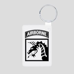 XVIII Airborne Corps B-W Aluminum Photo Keychain