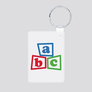 ABC Blocks Aluminum Photo Keychain