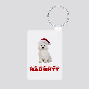 Naughty Bichon Frise Aluminum Photo Keychain