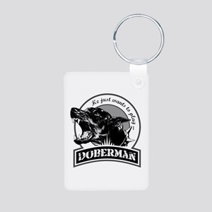 Doberman white Aluminum Photo Keychain