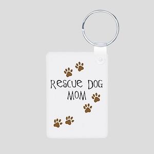 Rescue Dog Mom Aluminum Photo Keychain