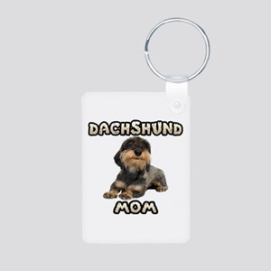 Wirehaired Dachshund Mom Aluminum Photo Keychain