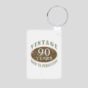 Vintage 90th Birthday Aluminum Photo Keychain