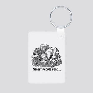 Smart People Read Aluminum Photo Keychain