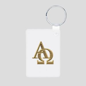 """""""3-D"""" Golden Alpha and Omega Symbol Aluminum Photo"""