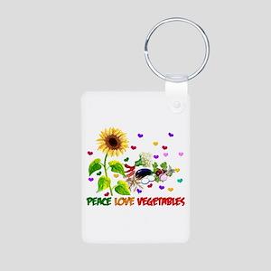Peace Love Vegetables Aluminum Photo Keychain