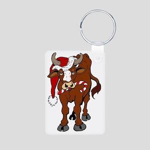 christmas-cow Aluminum Photo Keychain