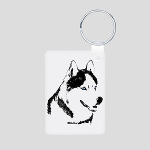 Siberian Husky Sled Dog Aluminum Photo Keychain
