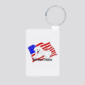 Bichon Frise USA Aluminum Photo Keychain