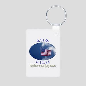 9-11 Not Forgotten Aluminum Photo Keychain