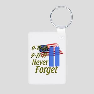 9-11 / Flag / Never Forget Aluminum Photo Keychain
