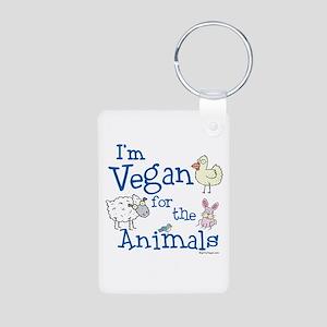 Vegan for Animals Aluminum Photo Keychain