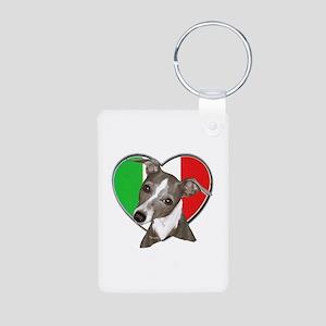 Italian Greyhound art Aluminum Photo Keychain