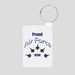Proud Air Force MOM Aluminum Photo Keychain
