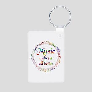 Music Makes it Better Aluminum Photo Keychain