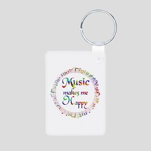 Music makes me Happy Aluminum Photo Keychain