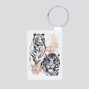 White Tigers Trans Aluminum Photo Keychain