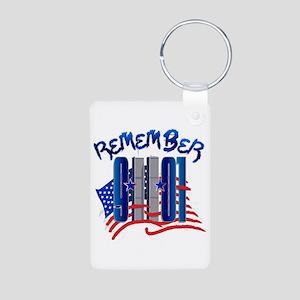 Remember 9/11 - Twin Towers Aluminum Photo Keychai
