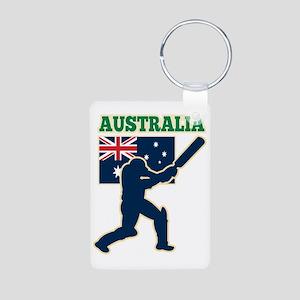cricket sports batsman  Au Aluminum Photo Keychain