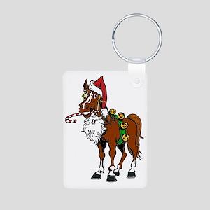 pony wearing santa hat Aluminum Photo Keychain