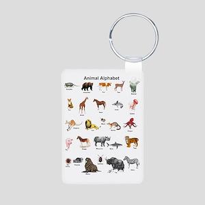 Animal pictures alphabet Aluminum Photo Keychain