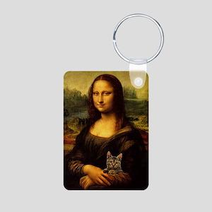 Monalisa with cat Aluminum Photo Keychain