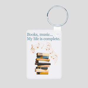 Books and music Aluminum Photo Keychain