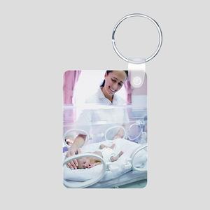 Nurse and premature baby Aluminum Photo Keychain