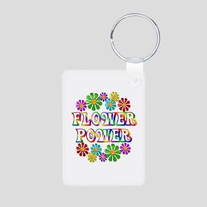Flower Power Aluminum Photo Keychain
