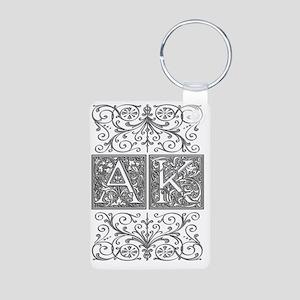 AK, initials, Aluminum Photo Keychain