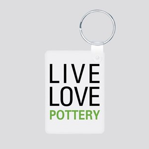 Live Love Pottery Aluminum Photo Keychain