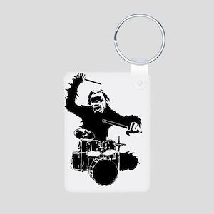 drumming gorilla Aluminum Photo Keychain