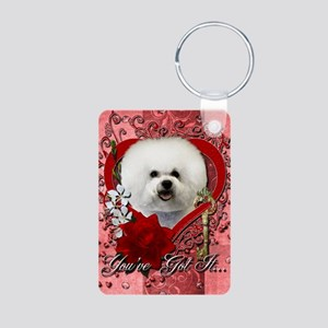 Valentine_Red_Rose_Bichon_ Aluminum Photo Keychain