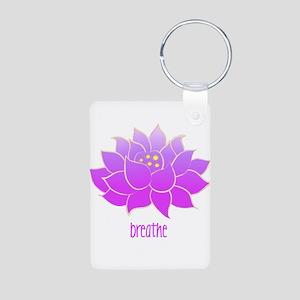 Breathe Lotus Aluminum Photo Keychain